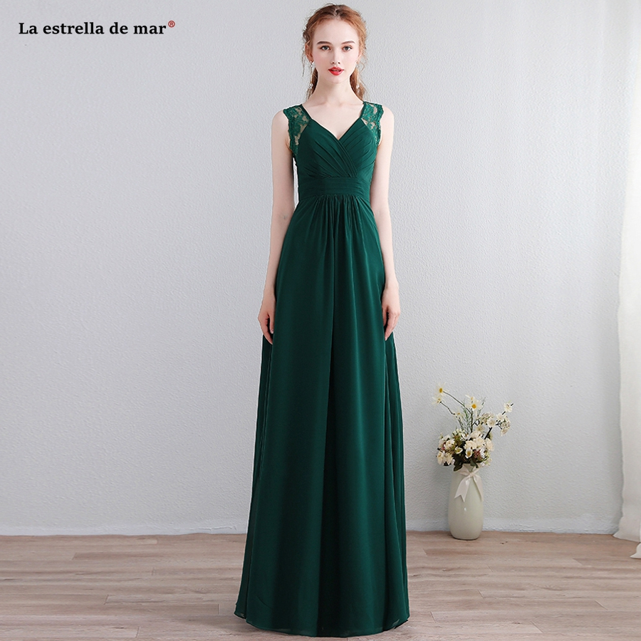 Robe demoiselle d'honneur new lace chiffon back a line dark green   bridesmaid     dresses   long plus size vestido madrinha