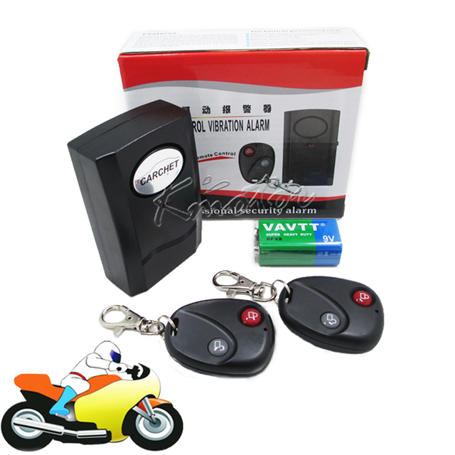 120dB Motorcycle Vibration Alarm System 2 Remote Control Anti-theft Burglars Alarm Security Protection  Battery Included