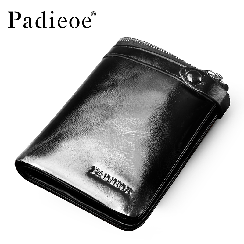 Padieoe Brand Men Wallets Genuine Leather Male Oli Cow Leather Purse with Coin Pocket padieoe luxury brand men wallets genuine leather male business oil cow leather trifold purse