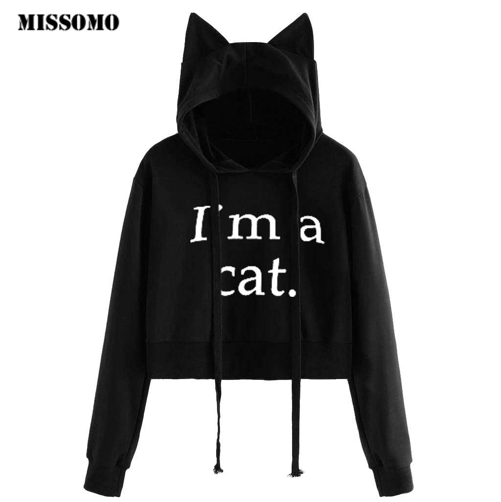 MISSOMO womens hoodies Cat ear Print Long Sleeve Hoode sweatshirts ladies tops oversized hoodie crop top sweatshirt Pullover 724