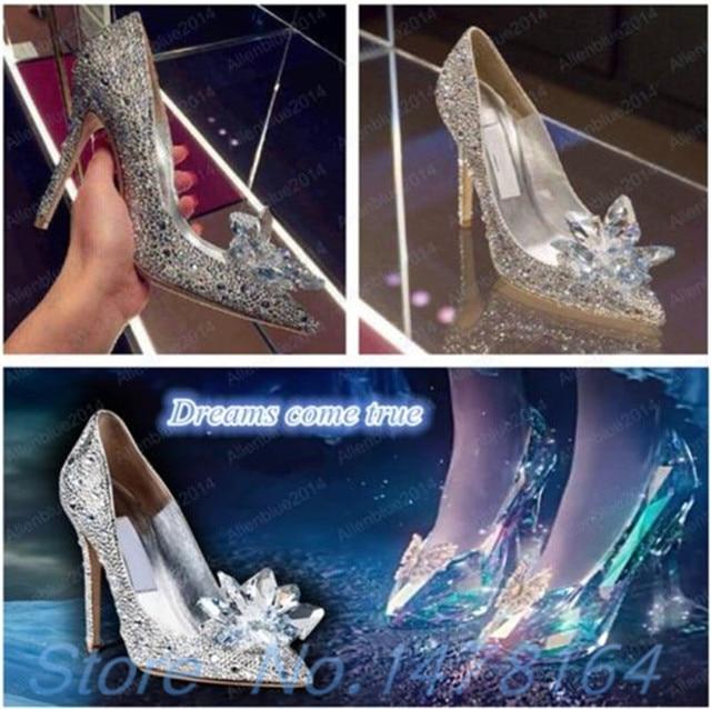 87d8c64fe2a3 Movie Cinderella Wedding Party Diamond Ladies  Pumps Crystal High Heels  Shoes Diamond SILVER RED 2018