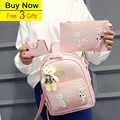 Favocent 2017 Black  PU leather backpack women Korean Waterproof 12nch Laptop Notebook Fashion Shoulders Bag Star School bag