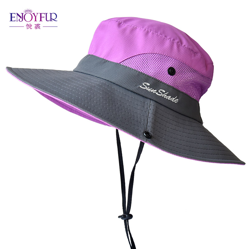 ENJOYFUR Summer Wide Brim Sun Hats For Women Outdoor UV Protection Ponytail Cap Foldable And Breathable Fishing Hat