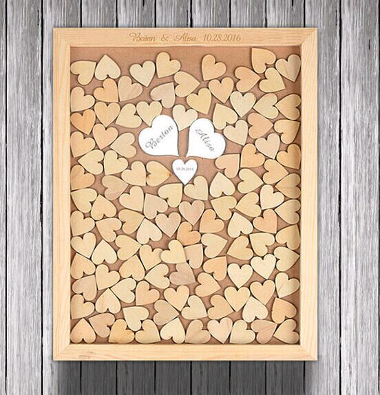 Personalized Wedding Guest Book Frame Alternative Wood Heart Guest