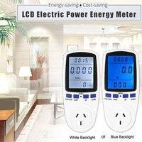 LCD Dijital Gerilim Watt Elektrik Enerjisi Metre Pil Monitör AB Tak Elektrik Mavi Beyaz Aydınlatmalı