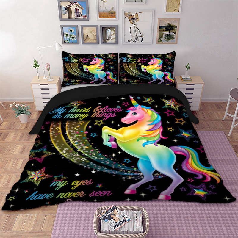 Dropshipping Duvet Cover Rainbow Unicorn Fairytale with Sparkling Stars 3D Digital Printing Bedding Sets Black Background