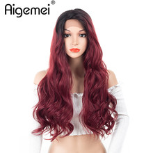 Aigemei Long Curly Lace Front Wig Heat Resistant Real Synthetic Hair Full Head Wigs Cosplay Party Wear For Women 24'' long curly blue synthetic lace front costume party wig