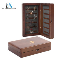 Maximumcatch Natural Wooden Fly Box Double Side Slit Foam Insert Fly Fishing Tackle Box with Fishing Flies