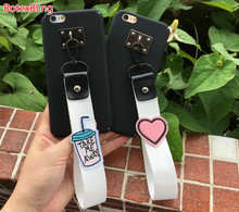 BotexBling love embroidery coffee wrist strap soft silicone case for iphone X case 7 7plus 6 6s plus 6plus cover 8 8plus 5 5s se