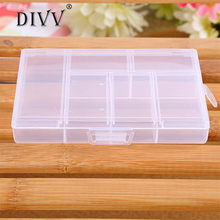 2017 Decor My House Holder Container Pills Jewelry Nail Art Tips 6 Grids Case Box New Hot Sell 17M20(China)