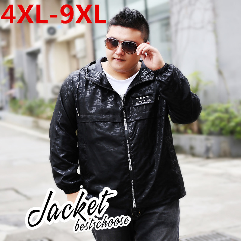 Spring and autumn thin monolayer clothing Jacket trench coat  Large size loose fat Camouflage printing jacket 9XL 8XL 7XL 6XL