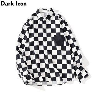 Image 2 - Dark Icon Interesting Print Plaid Men's Shirts 2019 Autumn Oversize Long Sleeved Checkered Shirts Streetwear Hipster Shirts