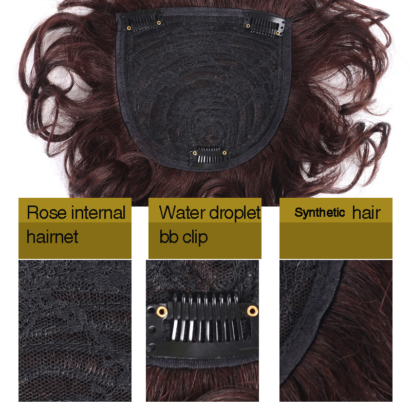 Image 5 - Allaosify Toupee with Bangs Synthetic Curly Hair Hand made Topper Hairpiece Clip In Hair Extensions Clip Ins Hair Topper PureSynthetic Clip-in One Piece   -