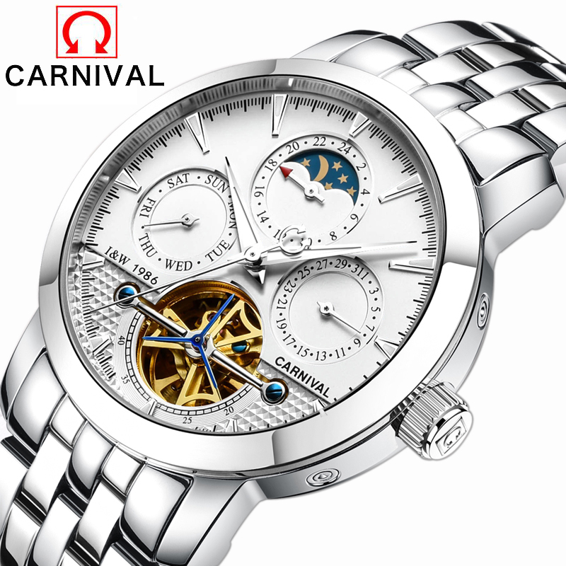 2016 Carnival sports tourbillon automatic mechanical brand watch waterproof men luxury full steel watches relogio masculino concise flock and round toe design pumps for women