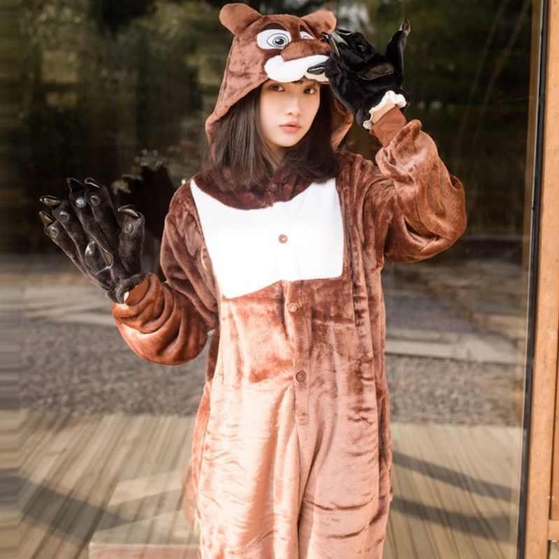 ... Животных пижамы симпатичный бурый медведь Косплэй Комбинезоны взрослых  комбинезон мультфильм костюм в стиле косплей для Хэллоуина ... 26782d9ffb2a4