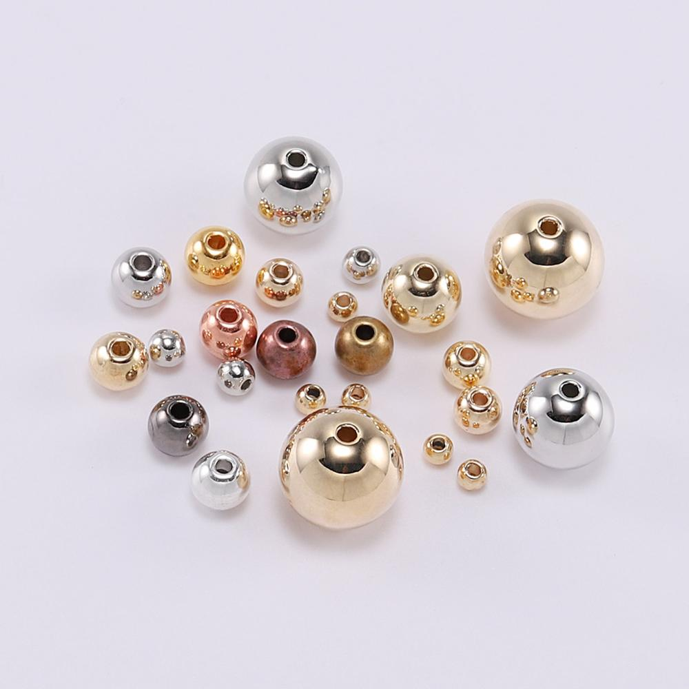 3 4 5 6 8 10 12mm Gold/Silver/Rose Gold Metal Plated CCB Acrylic Round Seed Loose Spacer Beads Supplies For DIY Jewelry Making(China)