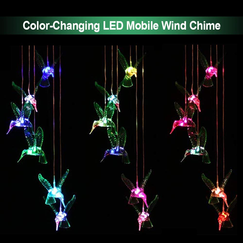 Solar Mobile Wind Chime Pathonor LED Changing Light Waterproof Six Hummingbird Wind Chimes For Home Party Night Outdoor Garden