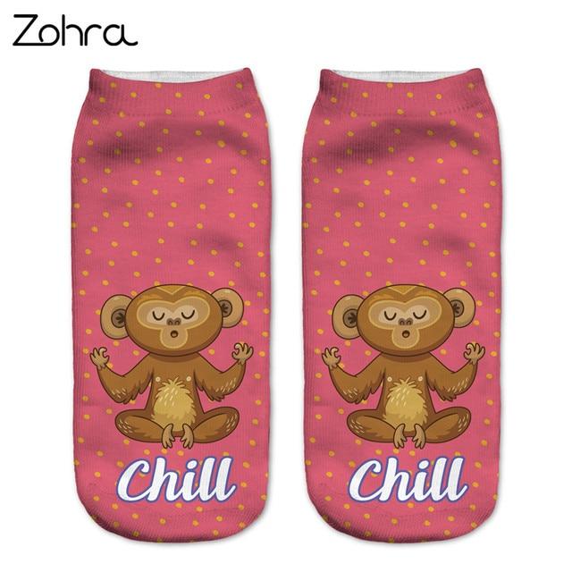 Зухра Новый Дизайн Для женщин носки медитировать обезьян 3D Носки с рисунком укороченные носки хлопковые носки с картинками