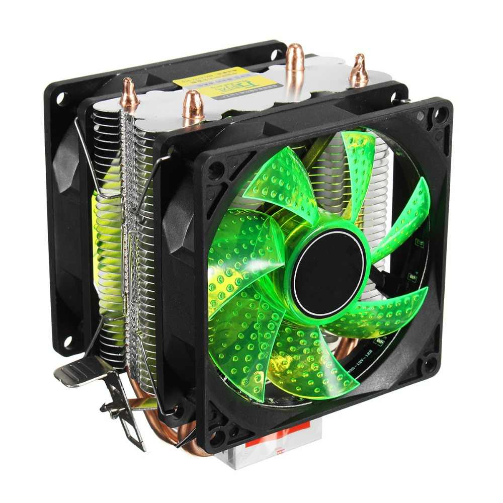 LED 2 Heat Pipe Quiet CPU Cooler Heatsink Dual Fan For LGA 1155 775 1156 For AMD AM3 for AM4 Ryzen 12V Powerful Fan
