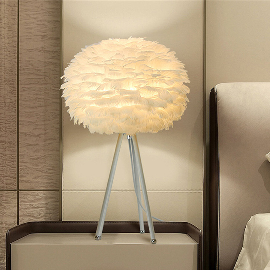 Thrisdar Modern Minimalist Feather LED Table Lamp With E27 Base White Feather Desk Lamp Bedroom Bedside Reading Light EU US PlugThrisdar Modern Minimalist Feather LED Table Lamp With E27 Base White Feather Desk Lamp Bedroom Bedside Reading Light EU US Plug