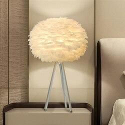 Thrisdar nowoczesne  minimalistyczne pióro LED lampa stołowa z E27 bazy białe piórko lampa sypialnia lampki nocne lampy biurko lampka do czytania ue usa wtyczka
