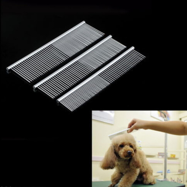 Hot Sale Stainless Steel Pet Hair Trimmer Combs Puppy Cat Cleaning Brush Pet Shedding Grooming Asymmetric Dog Long Hair Comb 1