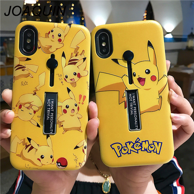 Super lovely Cartoon Pikachur Case Anti Knock TPU Cover For iPhone 6 6S 7 8 Plus X XR XS Max Protective shell and Phone Holder