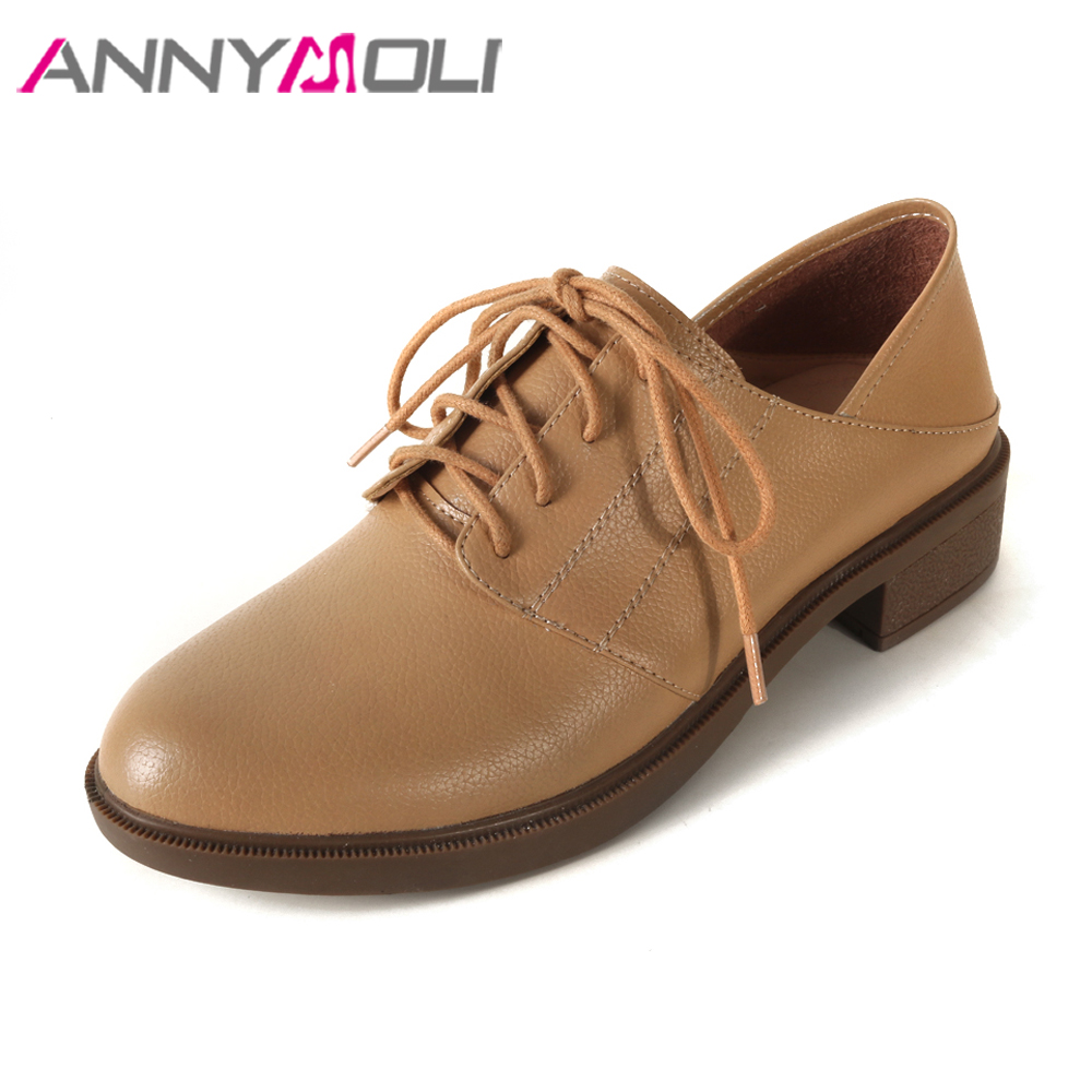 все цены на ANNYMOLI Women Moccasins Genuine Leather Shoes Lace Up Flats Shoes Spring Cow Leather Round Toe Slip Shoes Female Size 33-40