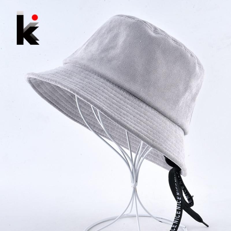 6c28b63983a Solid Corduroy Bucket Hat For Women NICE Emboridery Belt lacing Sun Cap  Anti-UV