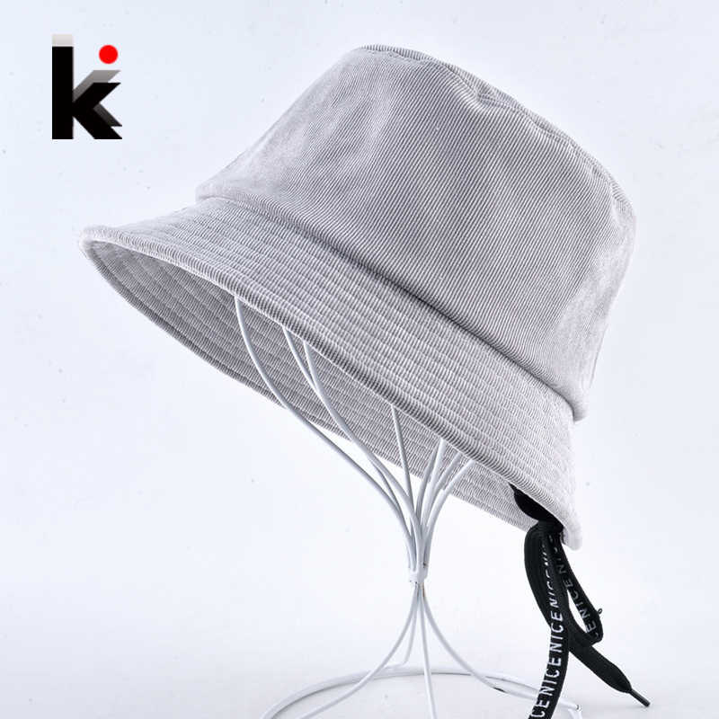 6abdf6ccfb2 Solid Corduroy Bucket Hat For Women NICE Embroidery Belt lacing Sun Cap  Anti-UV Floppy