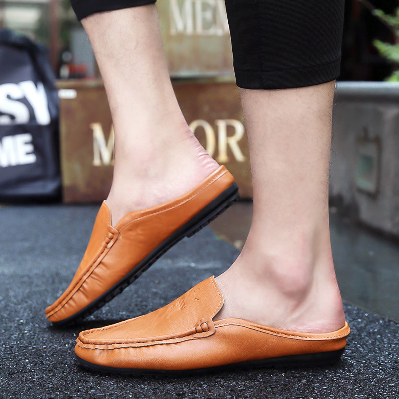 Korean Version Of The Summer Casual Simple And Comfortable Single Wear Baotou Men's Sandals Without Heel Half Drag 6