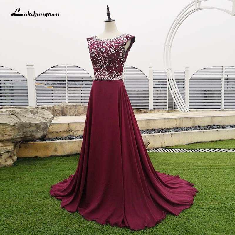 במלאי בלינג גבישי ערב שמלות אונליין ערב שמלה בורגונדי רויאל כחול אדום שחור ארוך שמלה לנשף Robe דה Soiree
