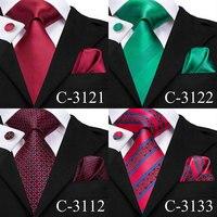 C-3129 Hi-Tie Luxury Silk Men Tie Gold Floral Dark Green Necktie Handkerchief Cufflinks Set Fashion Men's Party Wedding Tie Set 2