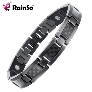 Top Quality Health Titanium Bracelet Bangle BLACK Plated Magnetic Care Bracelet Men Jewelry Bracelets OTB-1271BK 1