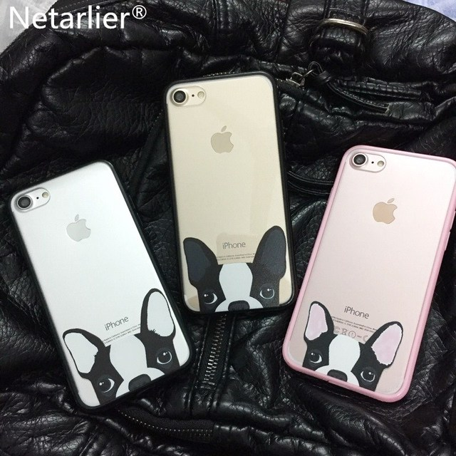 Netarlier Newest Luxury Brand Cartoon Lovely Boston Terrier Dog Cute Animal Design Phone Case For iphone 7 7Plus Back Case Cover