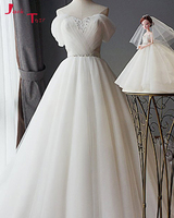 Jark Tozr Robe De Mariage Tắt Vai Beading Xếp Li Corset Trắng Công Chúa A-line Wedding Dresses 2018 Abiti Da Sposa