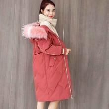 Womens down jacket white duck Detachable fur collar Winter long coat