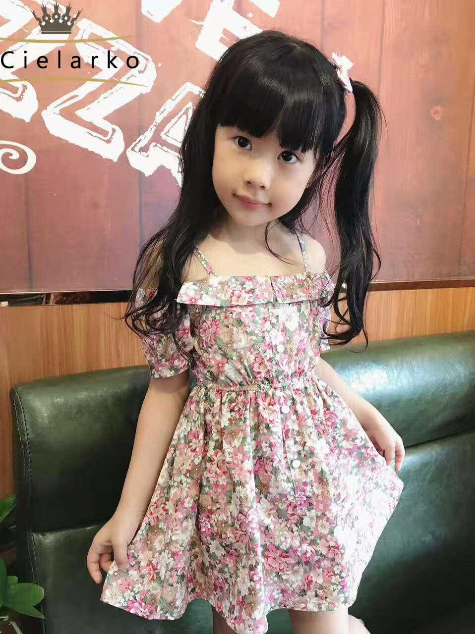 a4b48720c8c1708 ... Cielarko/Платье для маленьких девочек летние детские Платья с цветочным  рисунком без бретелек детская пляжная ...