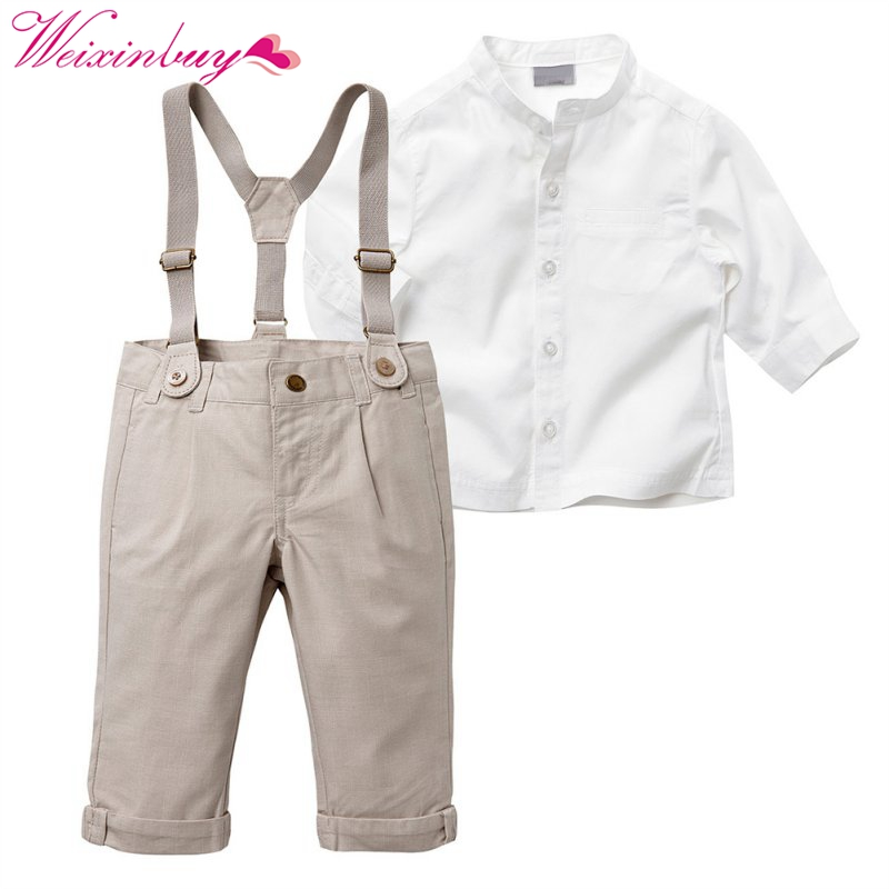 New Autumn Spring Summer Kids Baby Boy Gentleman Clothes Set Long Sleeve Tops + Long Suspender Trousers 5 Sizes