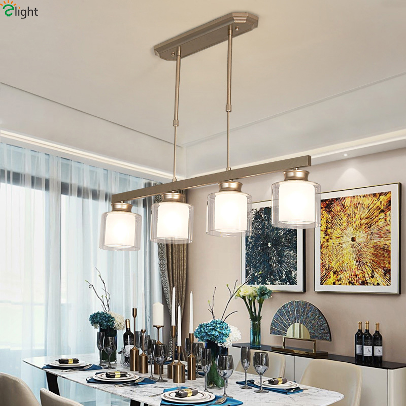Modern Metal Led Pendant Lights Lustre Glass Shade Living Room Led Pendant Lamp Dining Room Pendant Light Hanging Light Fixtures