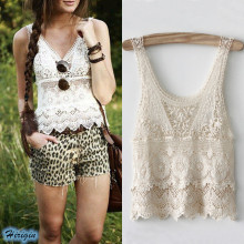 Summer Women Crop Tops HOT Casual Lace Crochet Tank Loose O-Neck Hollow Out