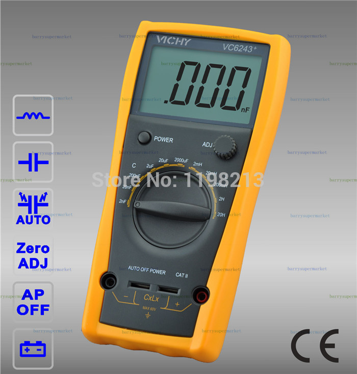 VICHY VICI VC6243+ Digital Inductance Capacitance Meter Tester 0-2000uf LCR Digital Multimeter high precision digital capacitance inductance meter auto ranging component tester 500kh lc rc oscillation inductance multimeter