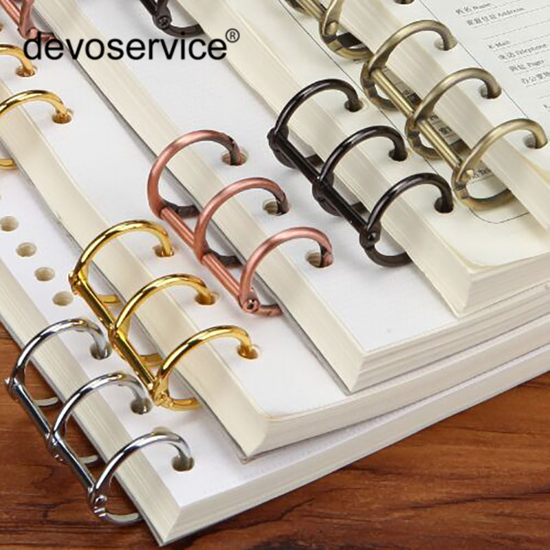 New 2Pcs Metal Bronze Color Loose Leaf Book Binder Hinged Ring Binding Rings Nickel Desk Calendar Circle 3 Rings For Card Key