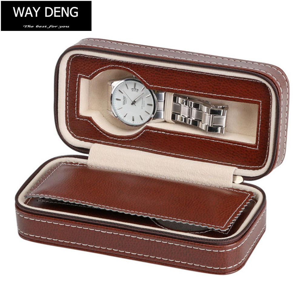 Way Deng - Outdoor Travel Portable Brown PU Leather Velvet Watch Box 2 Slots Zip Lock Jewelry Display Storage Case - YPK006 pu leather velvet blood halloween choker page 2