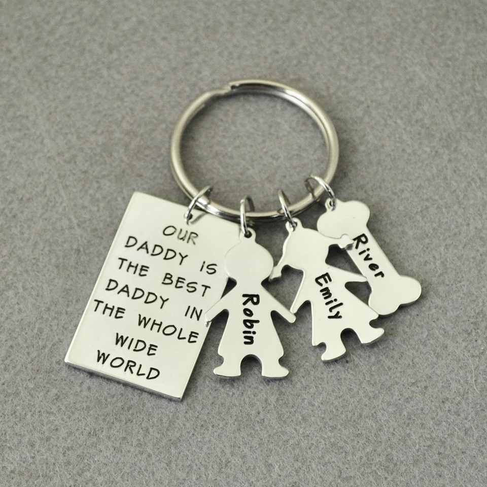 Personalised Photo Engraved Rectangle Keyring Keychain Great Fathers Day Gift!