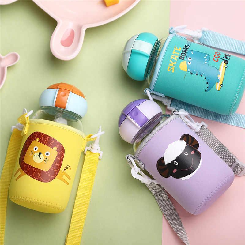 Детская Бутылочка для молока Стекло бутылка для воды для детей школьного возраста, на открытом воздухе герметичность посуда школа детский сад бутылка питьевой воды, принт с героями мультфильмов