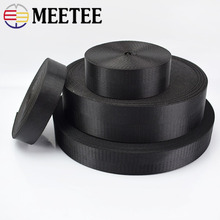 цены на Meetee 5meter 25/32/38/50mm Nylon Black Webbing Tape Herringbone Pattern DIY Backpack Strap  Seat Belt Sewing Accessories RD002  в интернет-магазинах