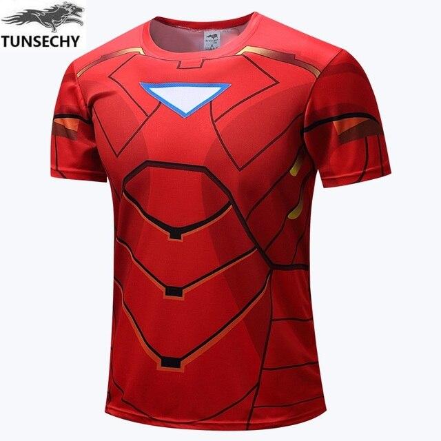 cf52ec874b1 TUNSECHY Brand 3D Digital printing T-shirts fashion Brand iron man round  collar short sleeve T-shirts wholesale and retail