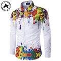 Ola de la moda Camisa de Algodón de Los Hombres 2016 Diseñador de la Marca de Lujo Delgado Largo-Manga Chemise Homme Casual Blanco Negro de tinta de Lujo camisas de Los Hombres