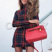 CUERLY Elegant plaid tweed women dress winter Office lady long sleeve warm christmas Vintage sexy autumn dresses festa